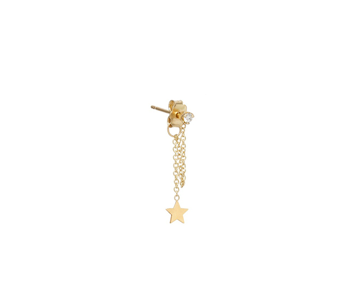 Zoë Chicco 14K Yellow Gold Itty Bitty Star Charm Diamond Drop Stud Earring