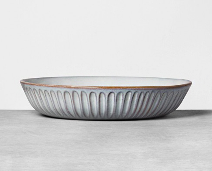 Stoneware Reactive Shallow Serve Bowl Blue - Hearth & Hand™ with Magnolia