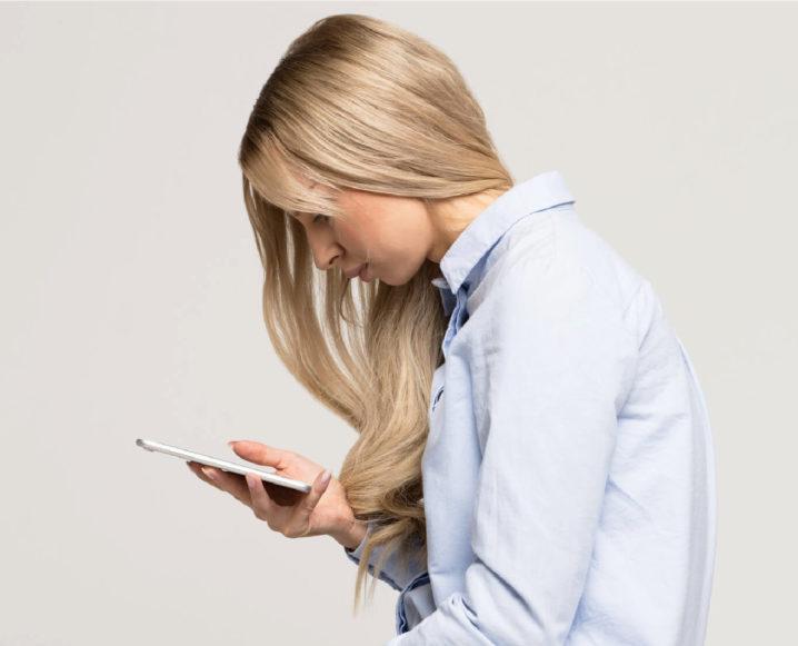 girl with bad posture habits phone