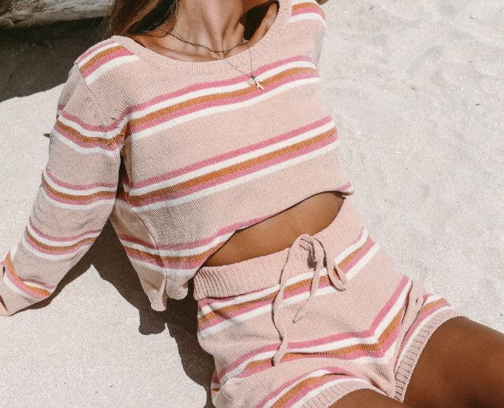 matching loungewear set on the beach