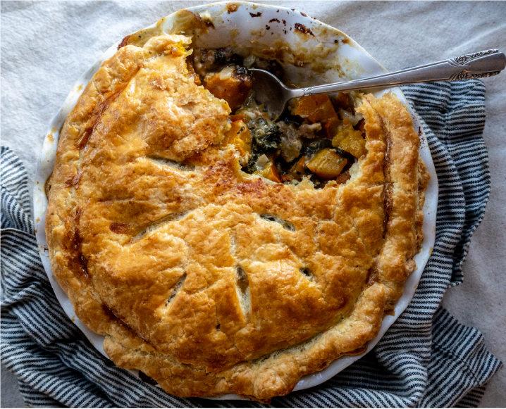 Tumbleweed Farm's Pumpkin Pot Pie with Kale + Sausage