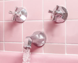 safe tap water pink tiles and faucet